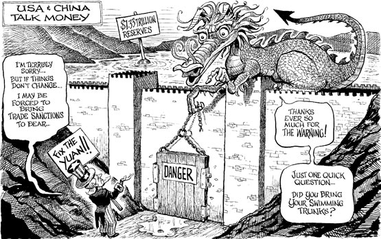 Chinese dragon on top of floodgates for dam, threatening, oh so politely, Uncle Sam