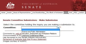 Senate submissions application 2009-01-21 showing that the Senate Environment, Communications, Information Technology and the Arts Committee, which has an open inquiry, is not on the list of available committees.