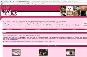 Web page from cat-lover forum book reviews... on Laboratory Exercises in Anatomy and Physiology with Cat Dissections (7th Edition)