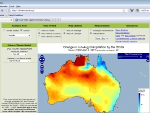 Sample of ClimateWiz looking at winter rain in 2050s Australia