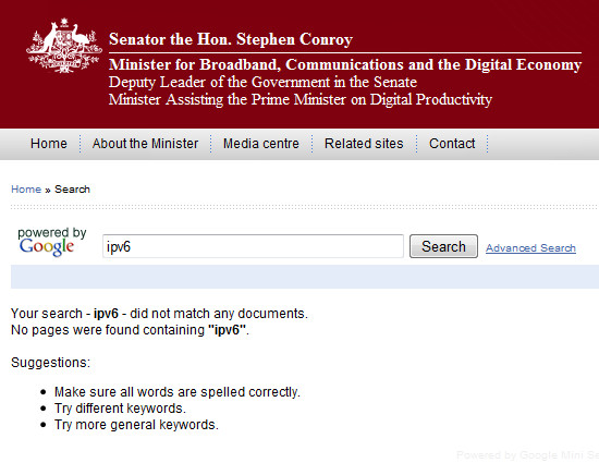 Cannot find mention of IPv6 using the search button on the site of Minister Stephen Conroy