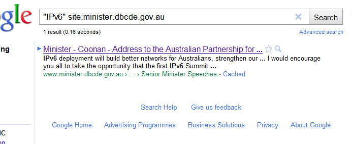 On minister.dbcde.gov.au, there is one mention of IPv6 - not by Conroy, but Coonan, in 2005 - Google Search